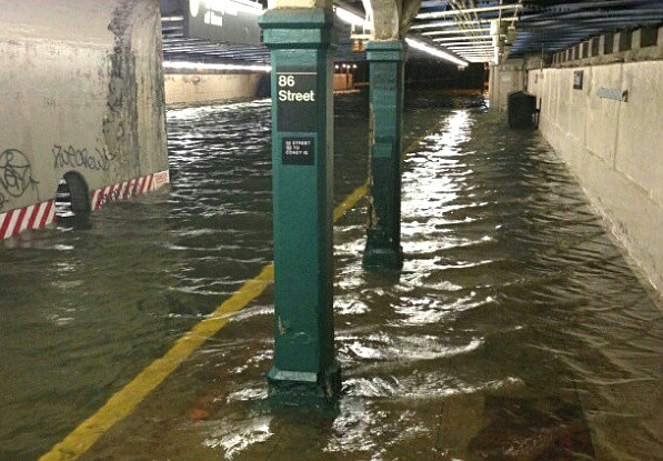 Photo of water in 86th Street Station in Brooklyn, NY, after Sandy