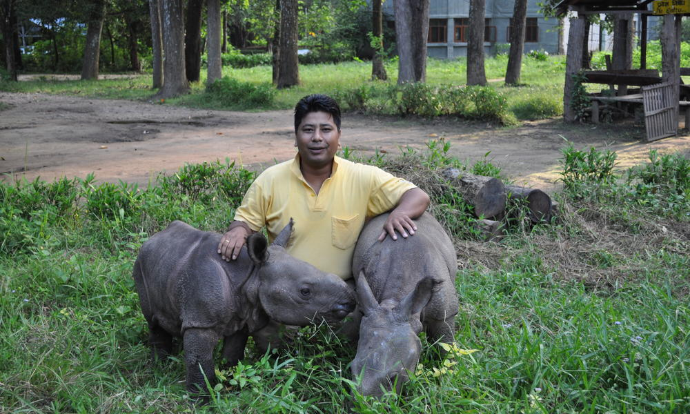 Rupak_Maharjan_with_two_Rhino_calfs