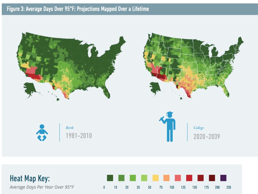 US Map of 95 Degree Days, 1981-2010 versus versus 2020-2039