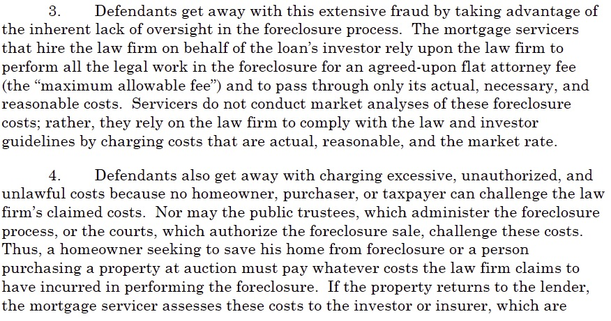 Colorado foreclosure mill lawsuit extract sections 3-4