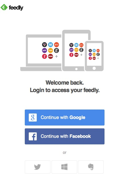 social login Feedly login screen