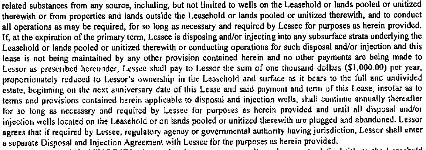 Injection wells lease section
