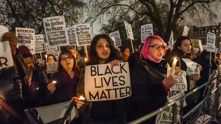 UK - Candle Light Vigil for Michael Brown at US Embassy in London