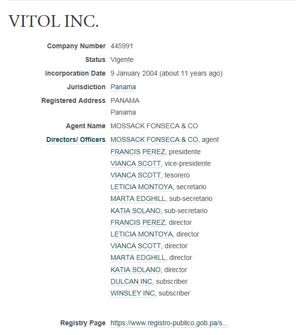 Mossack Fonseca Vitol Capture