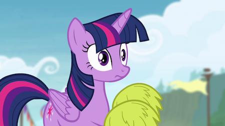 Pony with pom-poms
