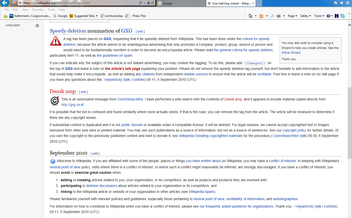 Wikipedia GXG Mikael Talk History Capture