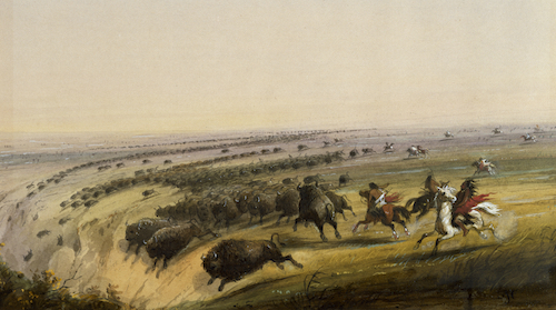 Alfred Jacob Miller (American, 1810-1874). 'Hunting Buffalo,' 1858-1860. watercolor on paper. Walters Art Museum (37.1940.190): Commissioned by William T. Walters, 1858-1860.