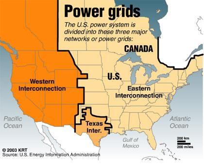 United States National Grid Map Of United States Of America - Us electric grid map