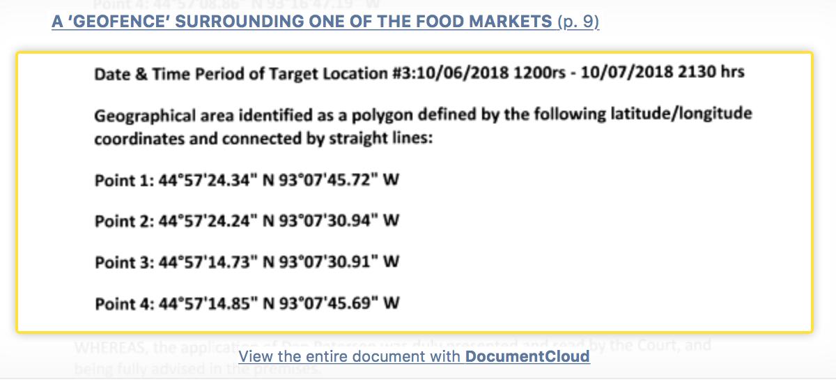Reverse Location Search Warrant