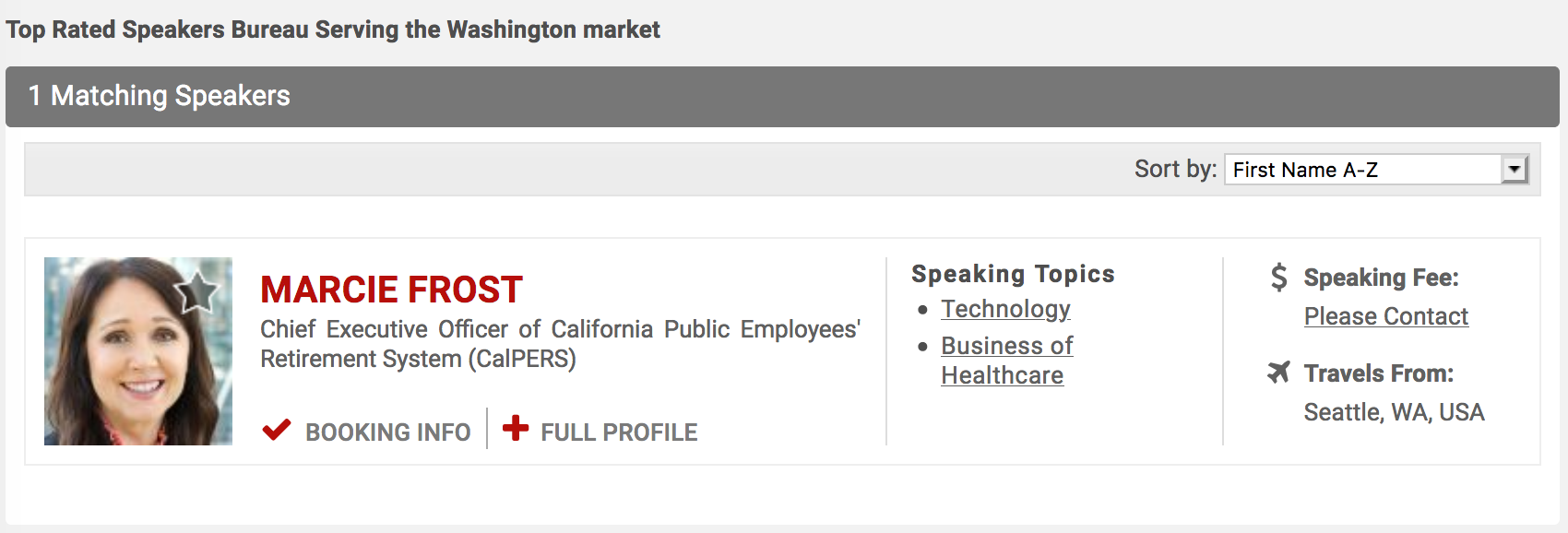 CalPERS CEO Marcie Frost Moonlights? Implausibly Denies Relationship With Top Speakers' Bureau 2