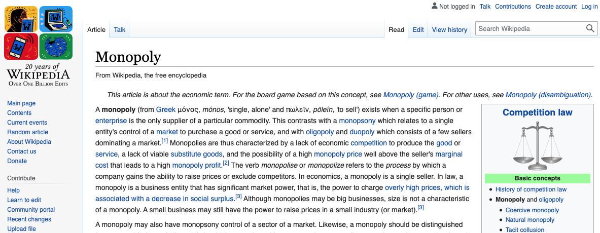 Wikipedia: The Overlooked Monopoly 1