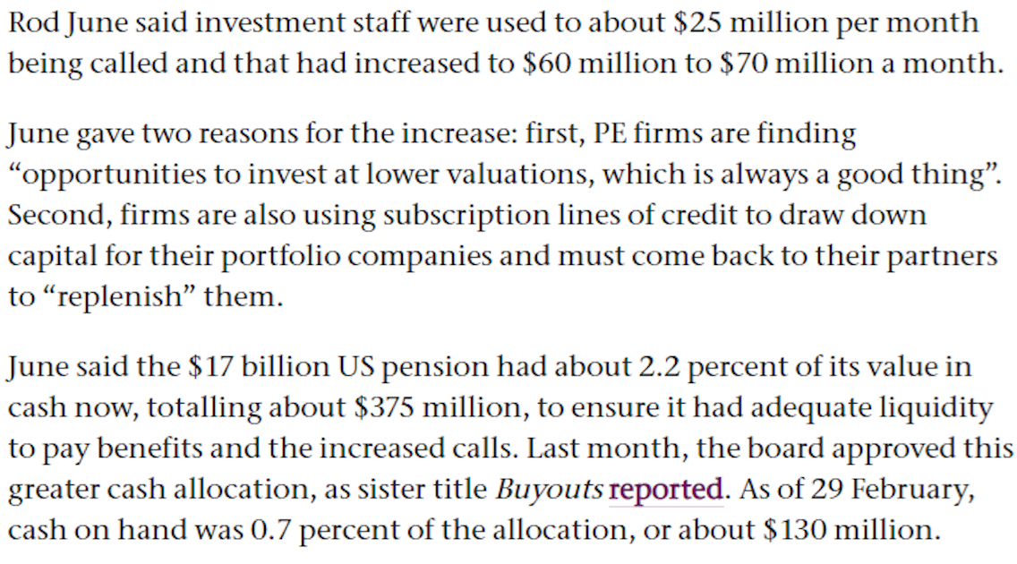More Public Pension Fund Pain: LACERS Reports Hit to Liquidity from Private Equity Capital Calls; Are Fund Managers Exploiting the Dumb Money Yet Again? 2